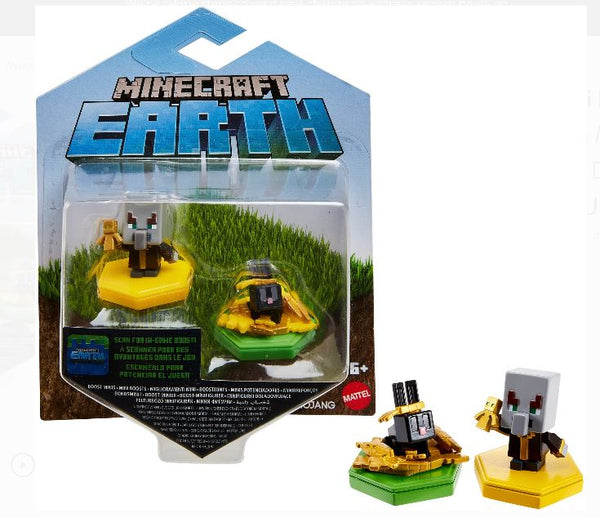 Minecraft Earth Boost Mini Figure 2-Pack - Undying Evoker and Snacking Rabbit, NFC Chip Enabled For Play With Minecraft Earth Augmented Reality Mobile Device Game