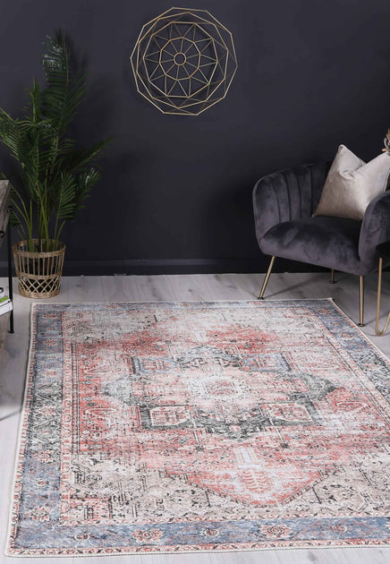 Distressed Vintage Cezanne Terracotta Sky Area Rug The Rug Collective