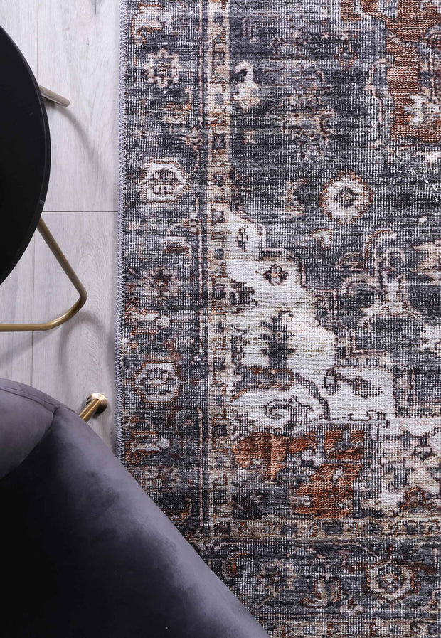 Distressed Vintage Cezanne Rabbit Gray Inca Gold Area Rug