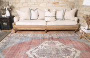 Distressed Vintage Belle Rust Blue Rug