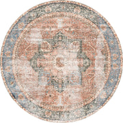 Distressed Vintage Cezanne Terracotta Sky Area Round Rug