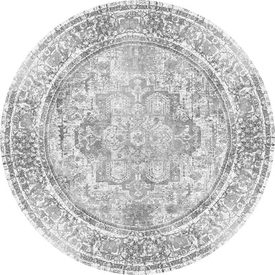 Distressed Vintage Chilaz Grey Round Rug