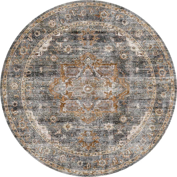 Distressed Vintage Cezanne Rabbit Gray Inca Gold Round Rug