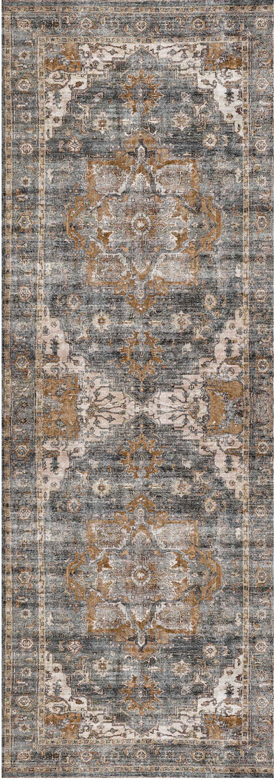 Distressed Vintage Cezanne Rabbit Gray Inca Gold Runner Rug