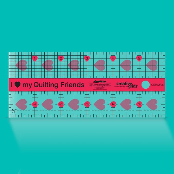 Creative Grids I Love My Quilt Friends Mini Quilt Ruler 2-1/2in x 6in CGRQF26