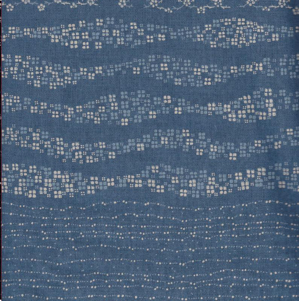Sashiko Fabric Takumi Waves Blue Fat 1-4