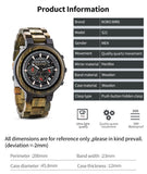 Men Watches Personalized Wood Watch Male for Him Handmade Lightweight Chronograph Date Causal military