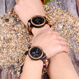 Wood Watch Lover Couple Watches Men Women Quartz Week Date Timepiece Colorful Wooden Band