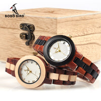 Two-tone Wooden Watch Women Top Luxury Brand Timepieces Quartz Wrist Watches in Wood Box