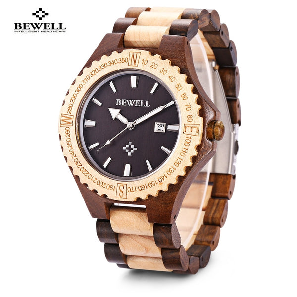 Hot Sell Men Wood Watch Waterproof Quartz Watches Wooden Band Calendar Luxury Male Dress Watch