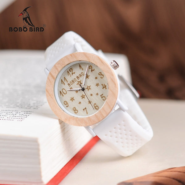 Women Wood Watches Soft Silicone Band Starry Sky Fashion Design Ladies Quartz Wristwatch