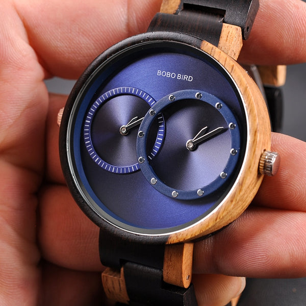 Ultra Thin Men Watch Original Wood Watches 2 Time Zone Display Quartz Wristwatch