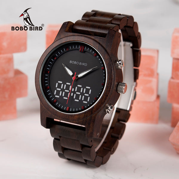 Digital Watch Black Wooden Men Quartz Dual Display Wristwatch