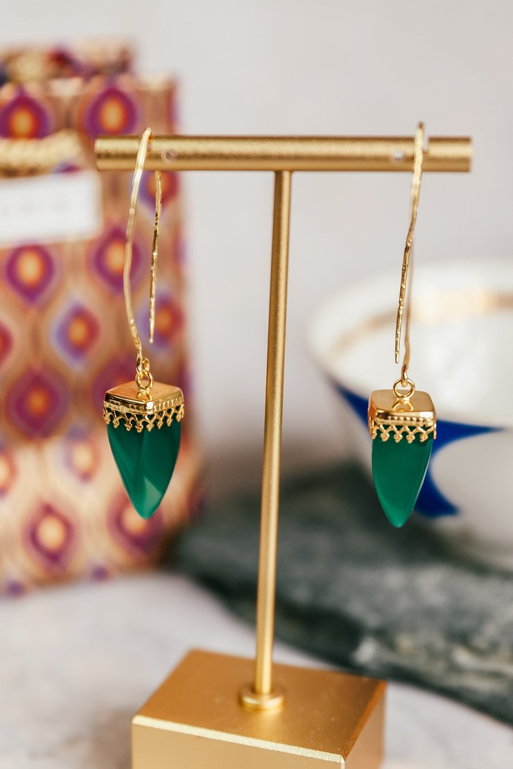 24ct Gold Plated Green Onix Point Drop Earrings