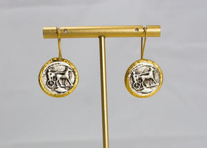 22ct Gold Plated Coin Drop Earrings