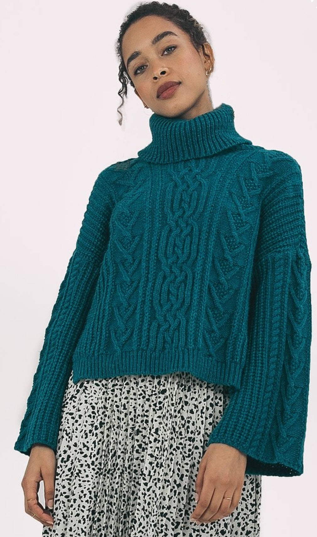 Petrol blue flared sleeves jumper
