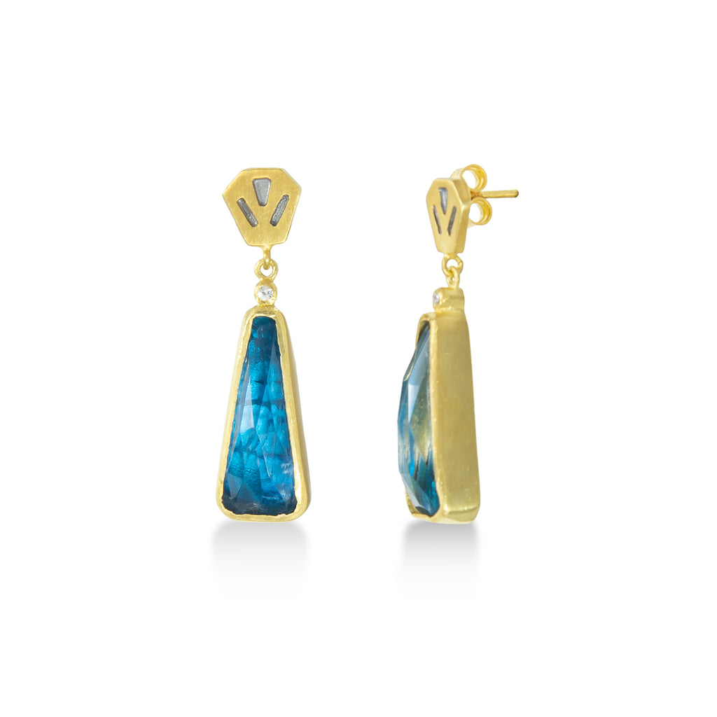 Queen Apatite & Natural Quartz Doublet Earrings-Silver 925 plated with yellow gold
