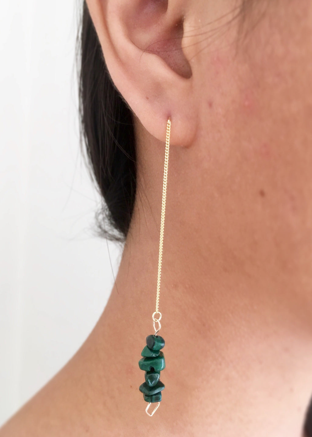 Malachite 14K Gold on Silver threader Earrings