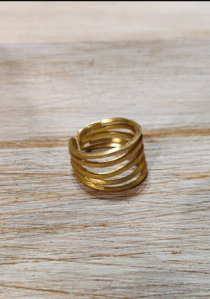 18k Gold on 925 Silver - Adjustable rustic ring.