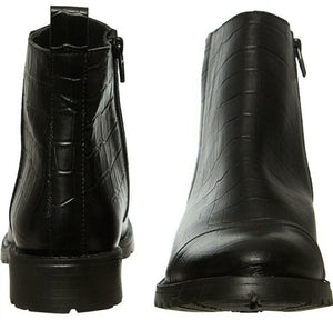 Black Leather Reptile Effect boots