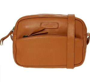 Tan compact genuine leather crossed body