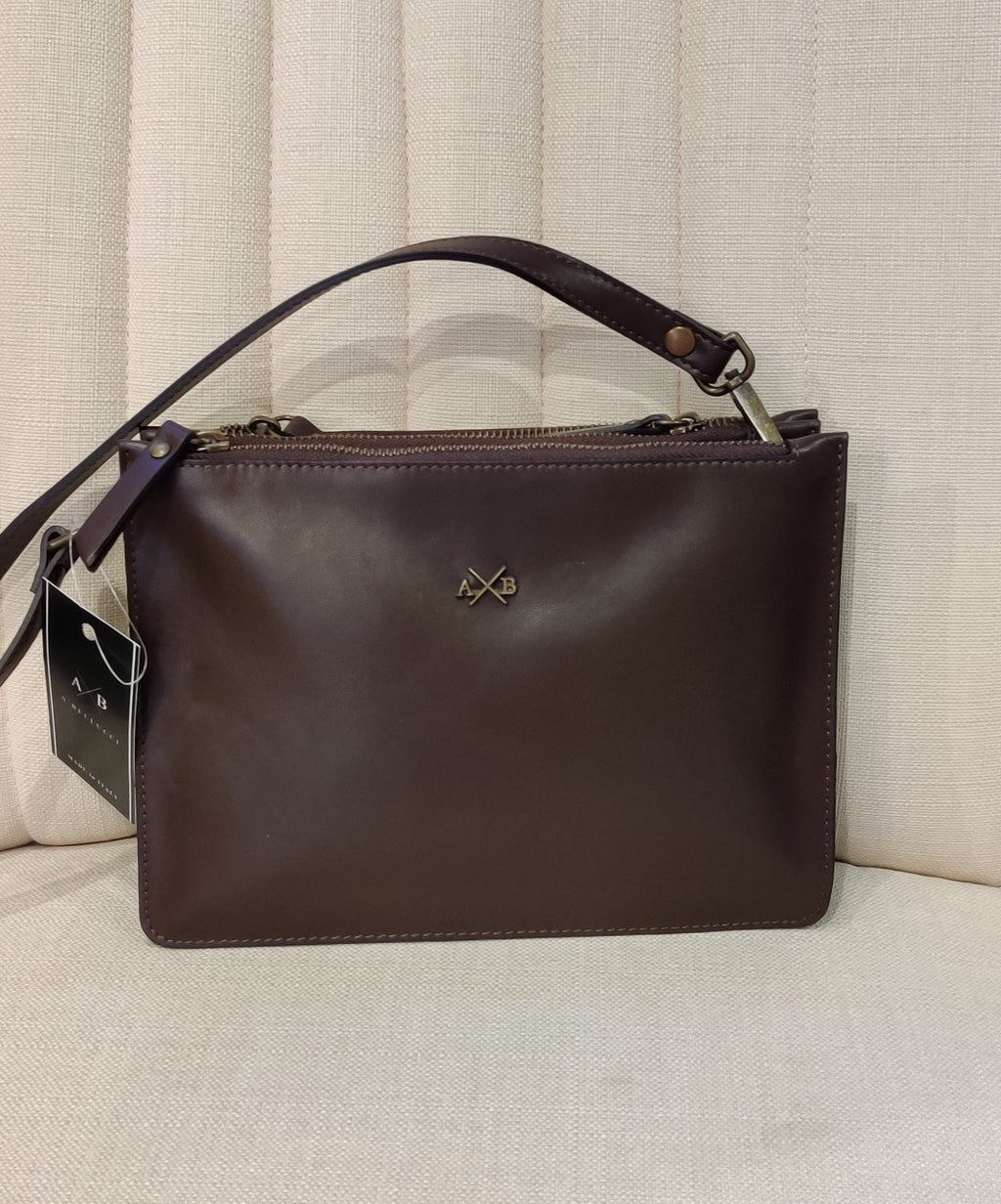 A&B Brown Leather Crossed Body bag- Made in Italy