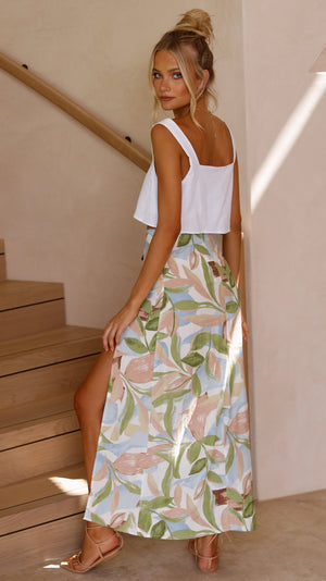 FREE SPIRIT SKIRT - LEAF PRINT