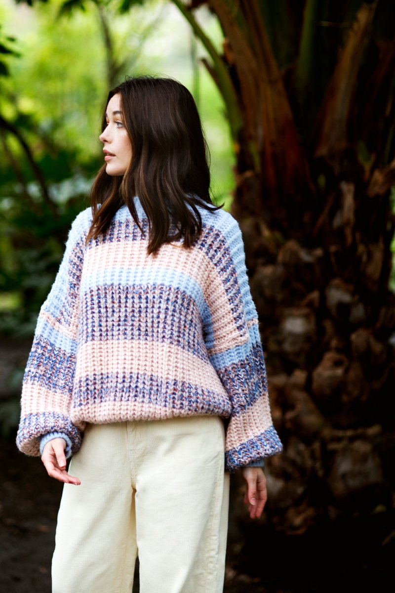 Pinks & blues striped knitted jumper