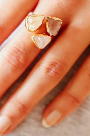 Handcrafted 24ct Gold Plated Natural Rose Quartz Adjustable Ring