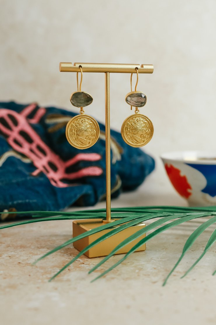 24ct gold plated Labradorite Coin Drop Earrings