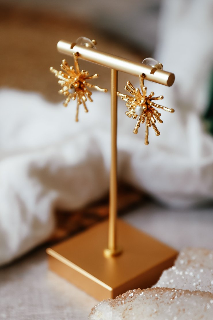 22ct Gold Plated Pearl Firework earrings