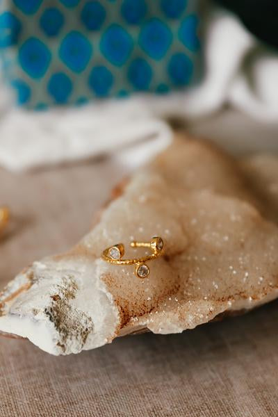 22ct Gold Plated Hammered Gold Ring With Crystal