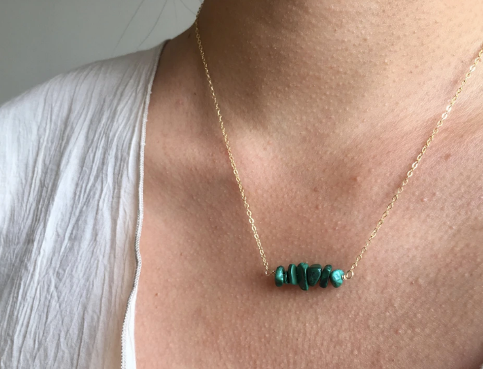 Malachite Gemstone Bar 12K Gold on Silver Necklace