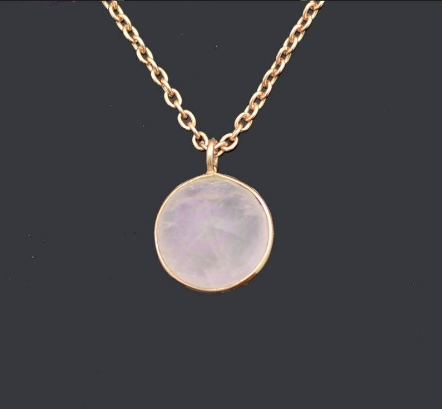 18k Rose Gold Plated on Silver 925, Rose Quartz necklace