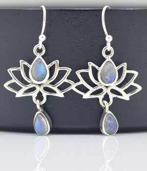 Raibow Moonstone, 925 Silver earrings