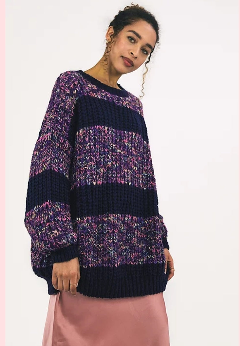 Rainbow chunky knitted oversized jumper