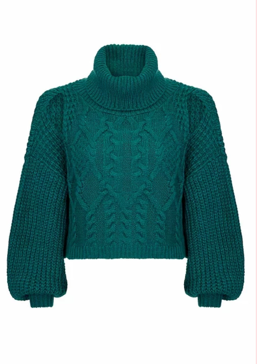 Teal Cropped knitted Jumper