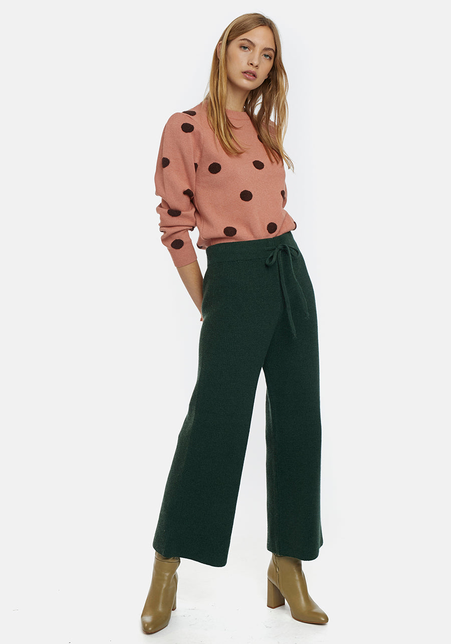 Deep green knitted culotte