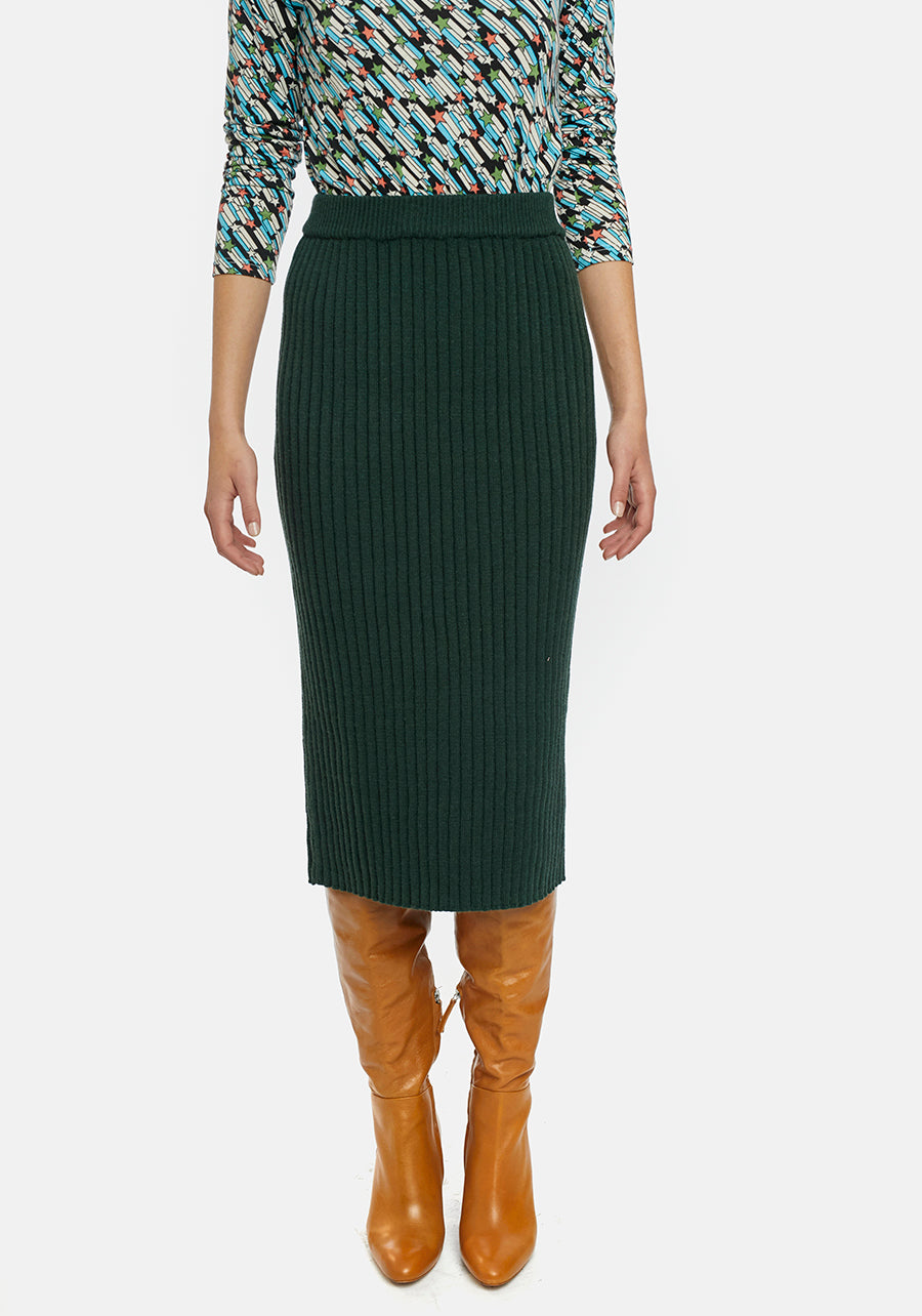 Borden knitted skirt - deep green