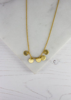 22ct Gold Plated 5 Disc Drop Necklace
