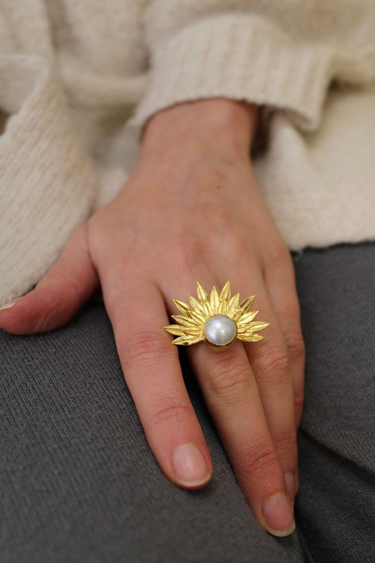 22ct Gold Plated Freshwater Pearl Adjustable Ring