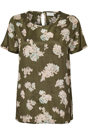 Floral olive silky top