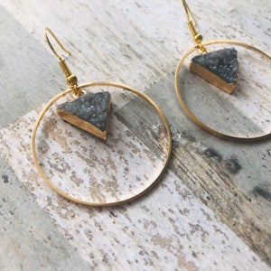 Gold Plated Grey Druzy Style Hoop Earrings