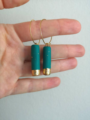 Green clay gold plated hoops