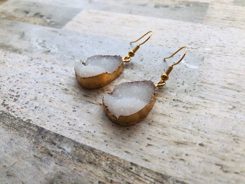 Gold Plated Druzy Effect White Statement Drop Earrings