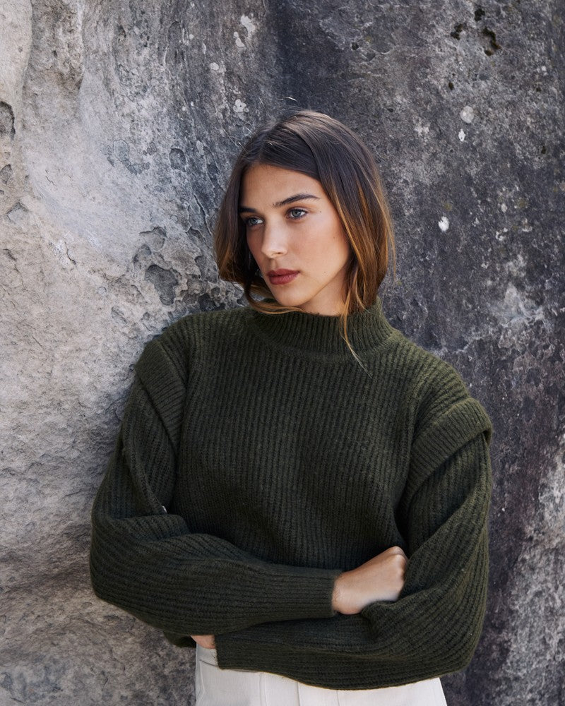 Leona green knitted jumper
