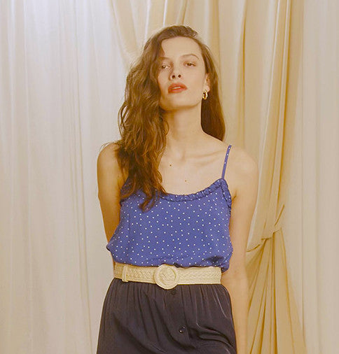 Clif polka dot blue top- PRE-ORDER- ESTIMATE DELIVERY START OF MAY 2021