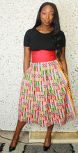 Load image into Gallery viewer, Julie Contrast Waist Pleated Skirt