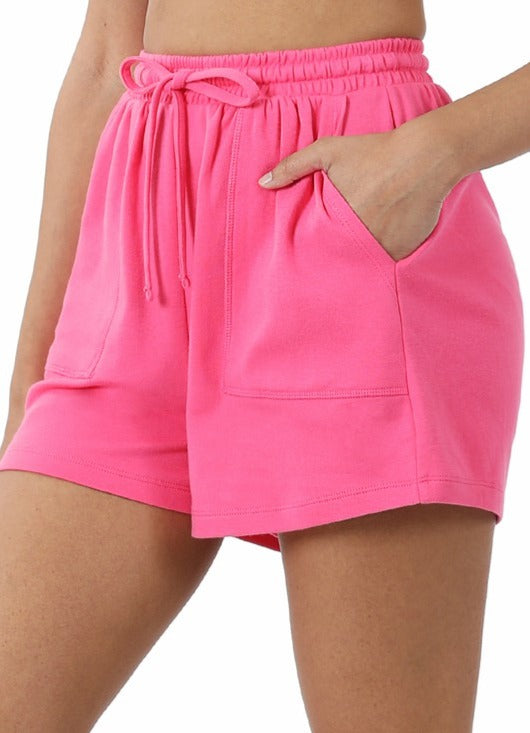 Cotton Drawstring Waist Soft Shorts