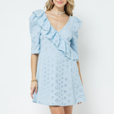 Baby Blue Eyelet Ruffle Dress